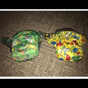 2 squishy tushy AIO Dr. Seuss cloth diapers